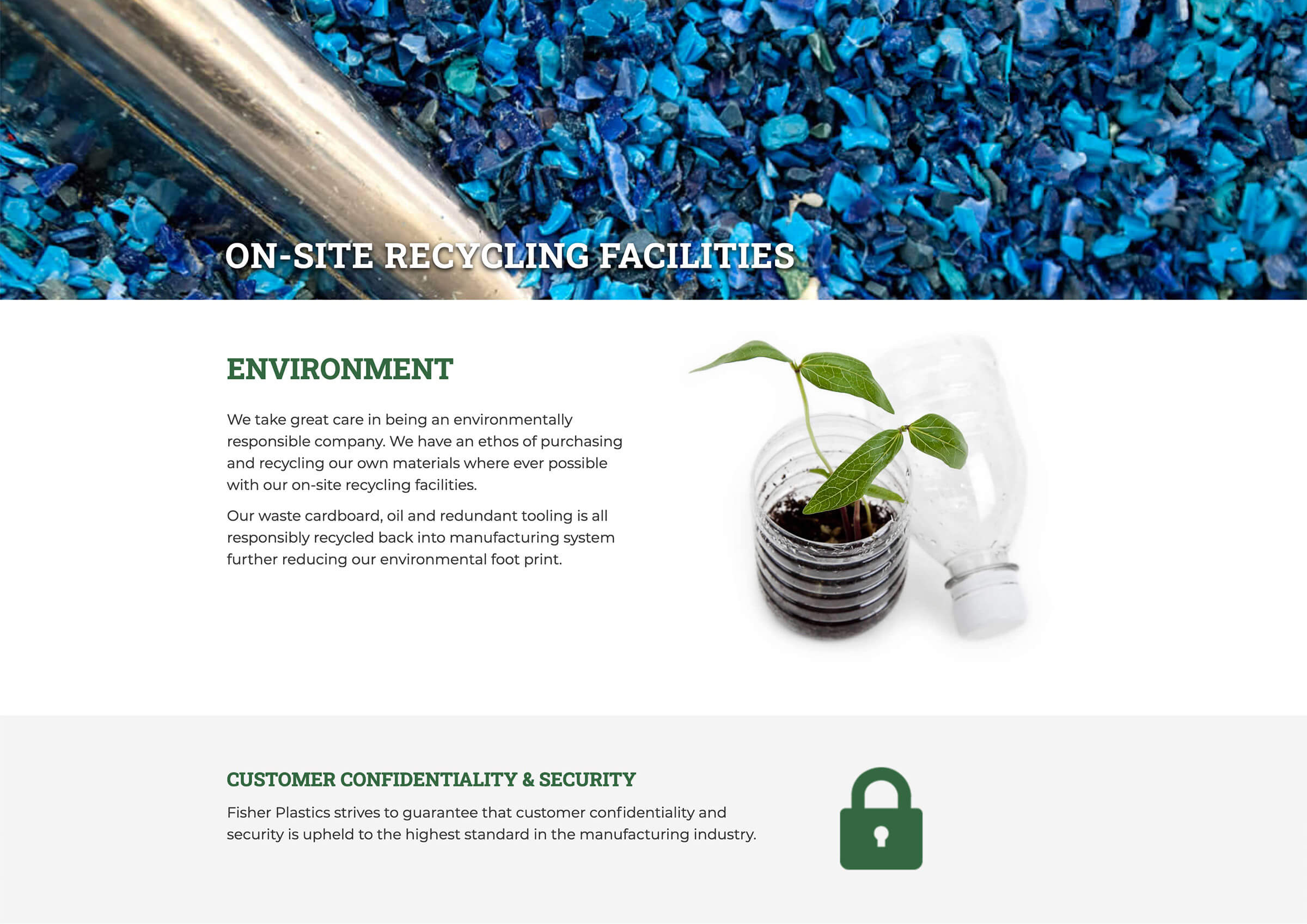 Fisher Plastics Environment web page example